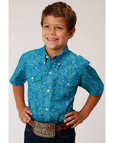 Amarillo Boys' Blue Ridge Paisley Print Short Sleeve Western Shirt, Blue, hi-res