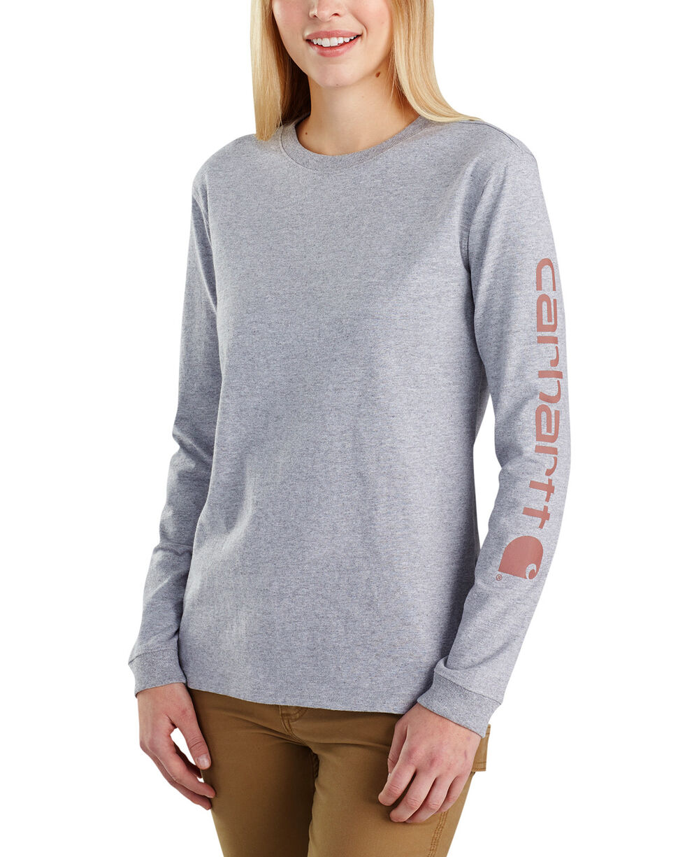 Carhartt Women's Workwear Sleeve Logo Long-Sleeve T-Shirt, Heather Grey, hi-res
