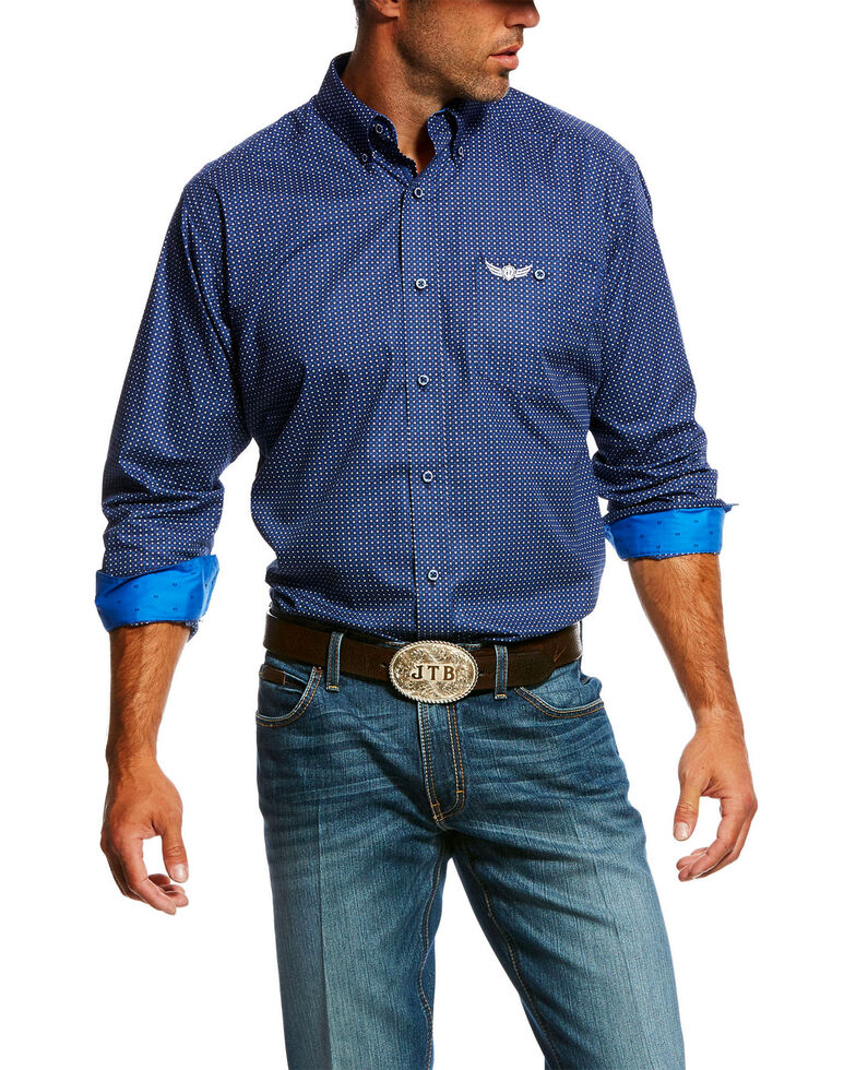 Ariat Men's Honor Small Geo Print Long Sleeve Western Shirt , Navy, hi-res