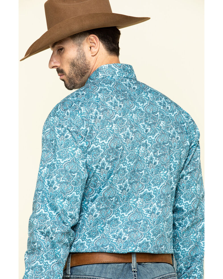 Stetson Men's Blue Paisley Print Long Sleeve Western Shirt , , hi-res