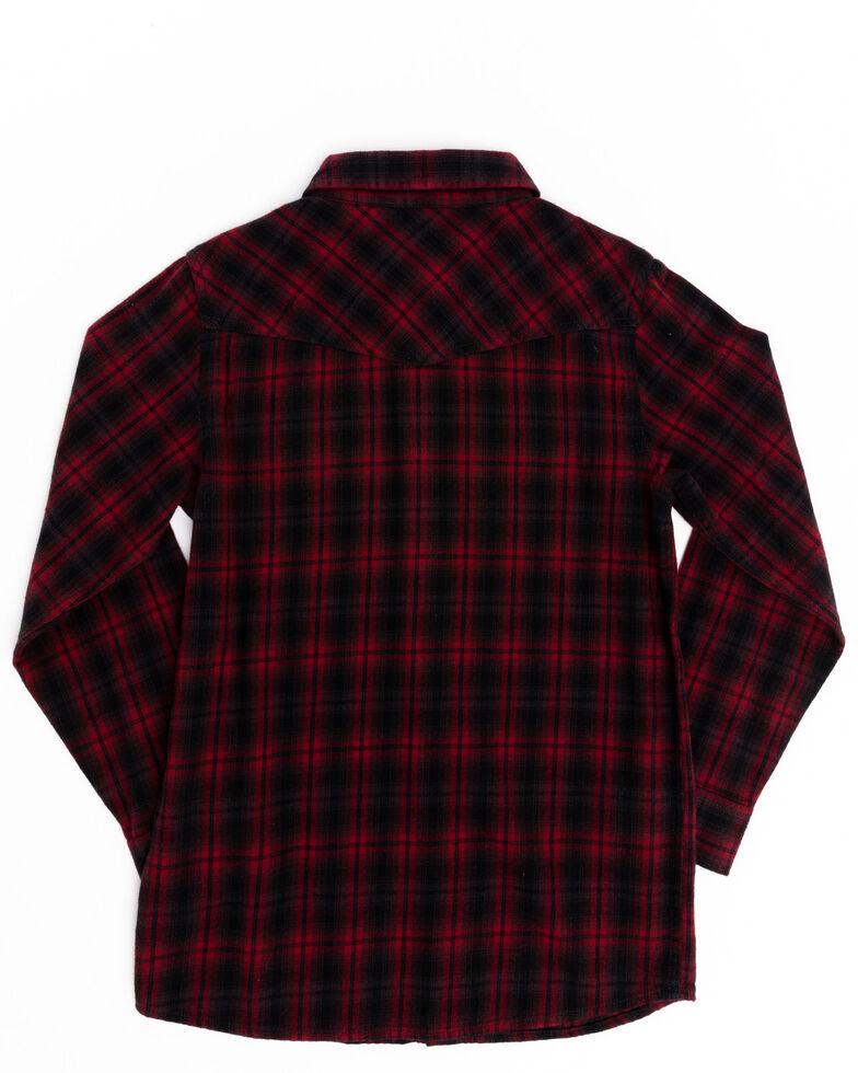 Cody James Boys' Christmas Plaid Long Sleeve Western Flannel Shirt , Black/red, hi-res