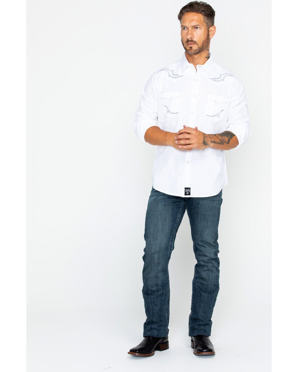 Wrangler Rock 47 Men's White Fancy Yoke Shirt , White, hi-res