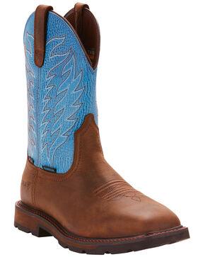 Ariat Men's Dark Brown Groundbreaker H20 Wide Square Toe Boots - Steel Toe , Dark Brown, hi-res