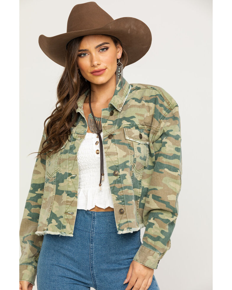 Free People Women's Camo Printed Denim Jacket, Camouflage, hi-res
