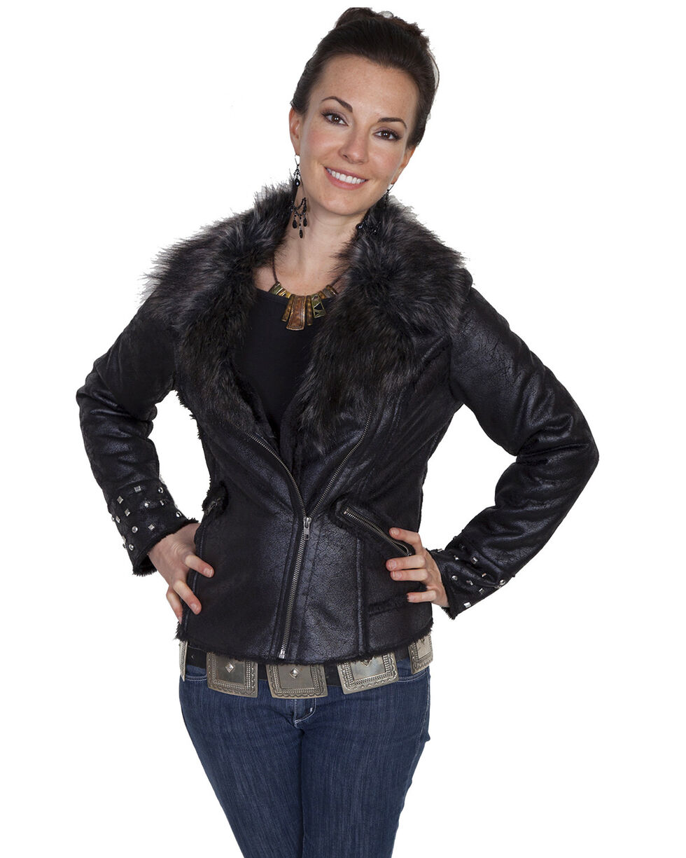 Scully Women's Faux Fur Studded Moto Jacket, , hi-res