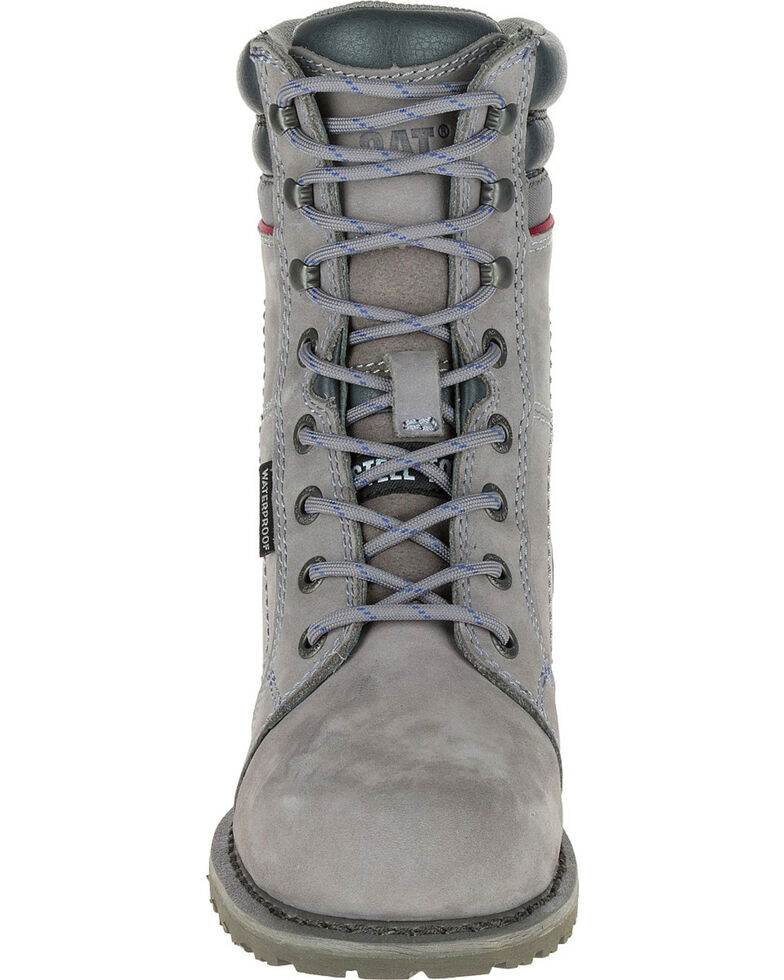CAT Women's Echo Waterproof Steel Toe Work Boots, Grey, hi-res