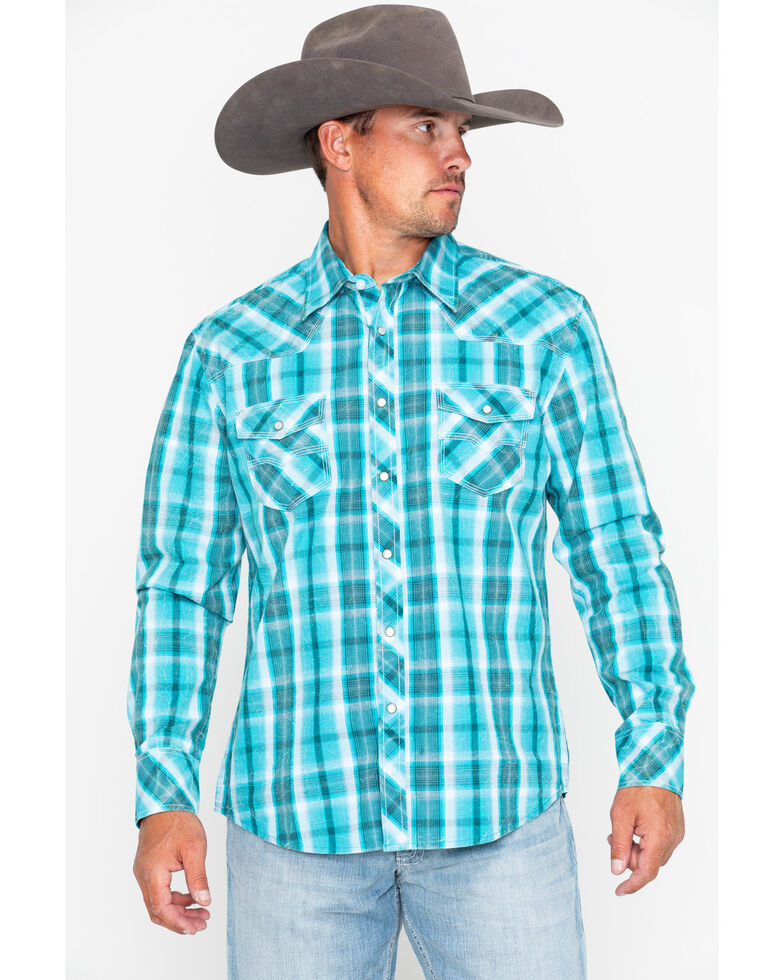 Rock & Roll Cowboy Men's Poplin Plaid Snap Long Sleeve Western Shirt , Blue, hi-res