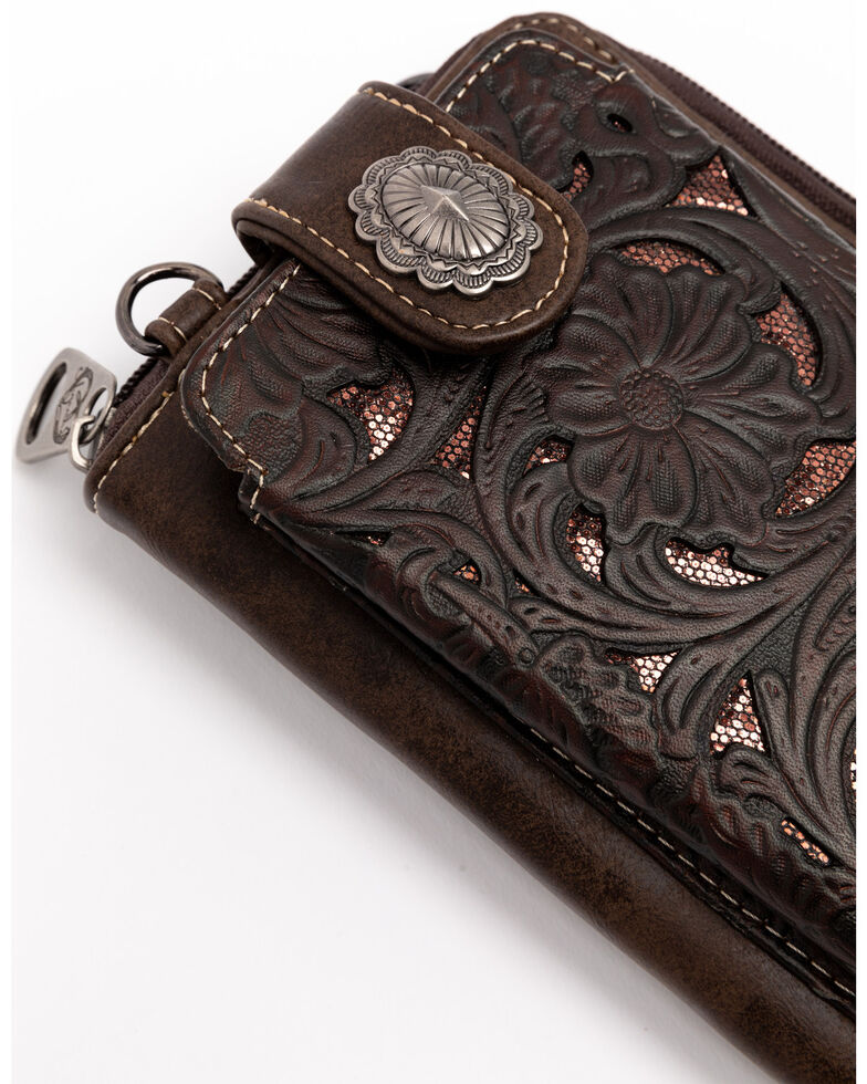 Shyanne Women's Glitter Inlay Cell Phone Wallet, Brown, hi-res