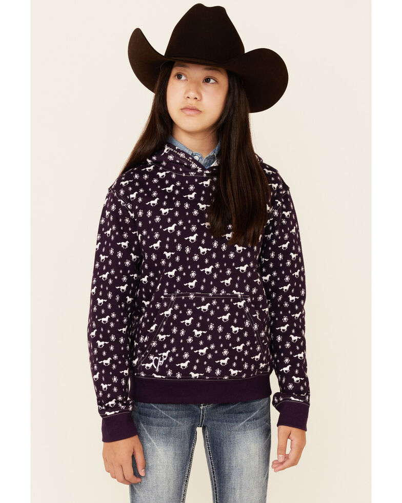 Cowgirl Hardware Girls' Purple Daisy Rider Print Pullover Hoodie , Purple, hi-res