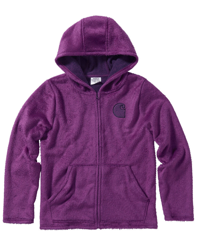 Carhartt Girls' Plum Caspia Fleece Sherpa Lined Jacket, Grape, hi-res