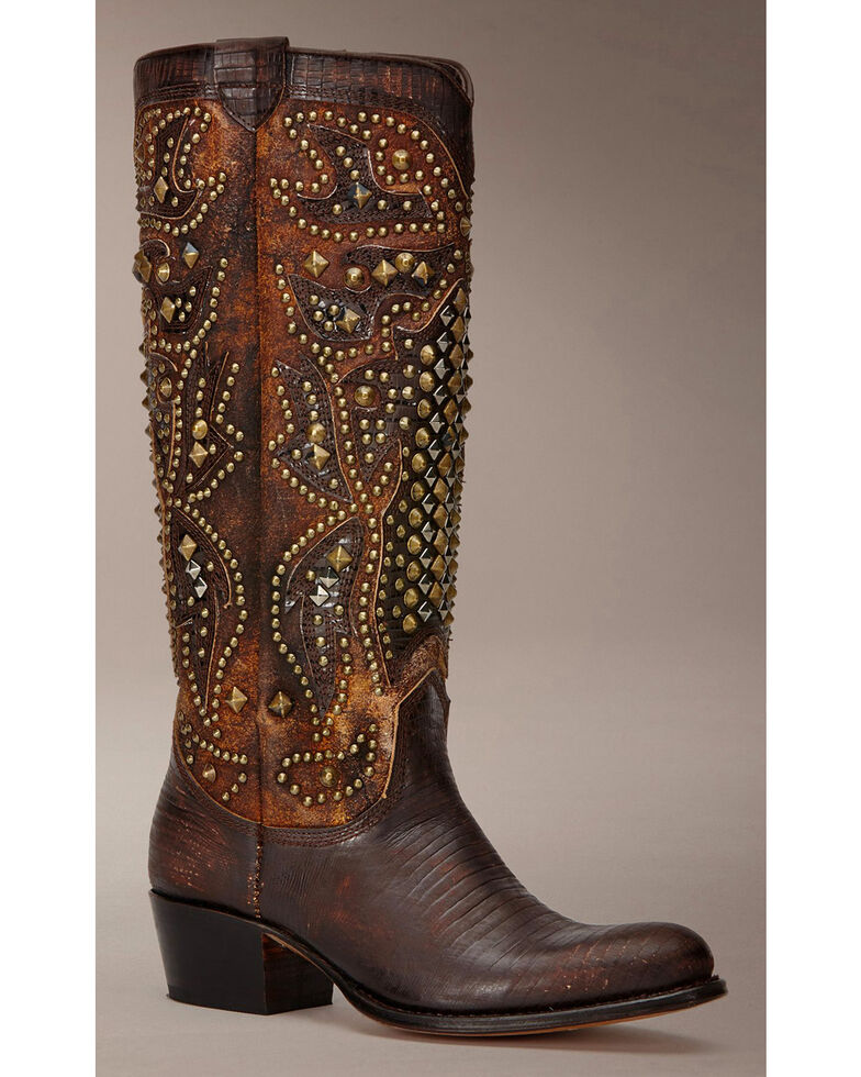 Frye Women's Deborah Deco Tall Cowgirl Boots - Medium Toe, Dark Brown, hi-res