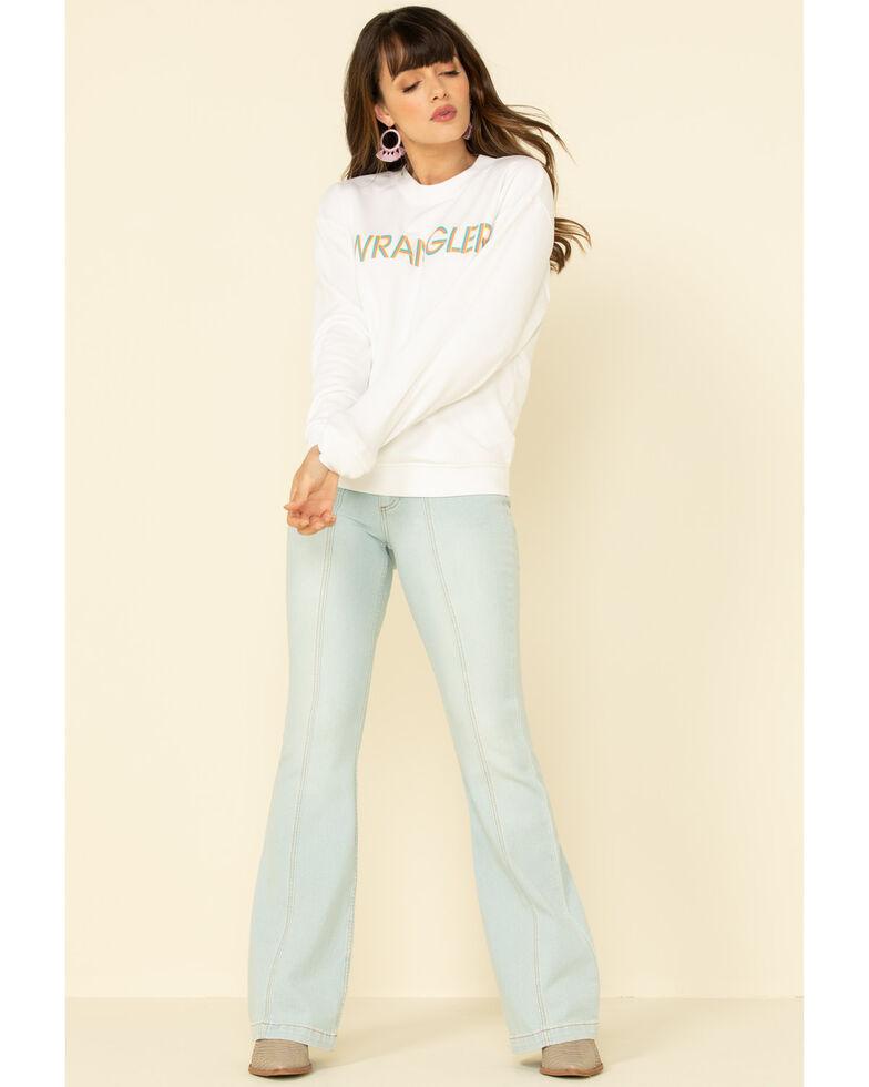 Wrangler Modern Women's White High Rib Retro Logo Pullover, White, hi-res