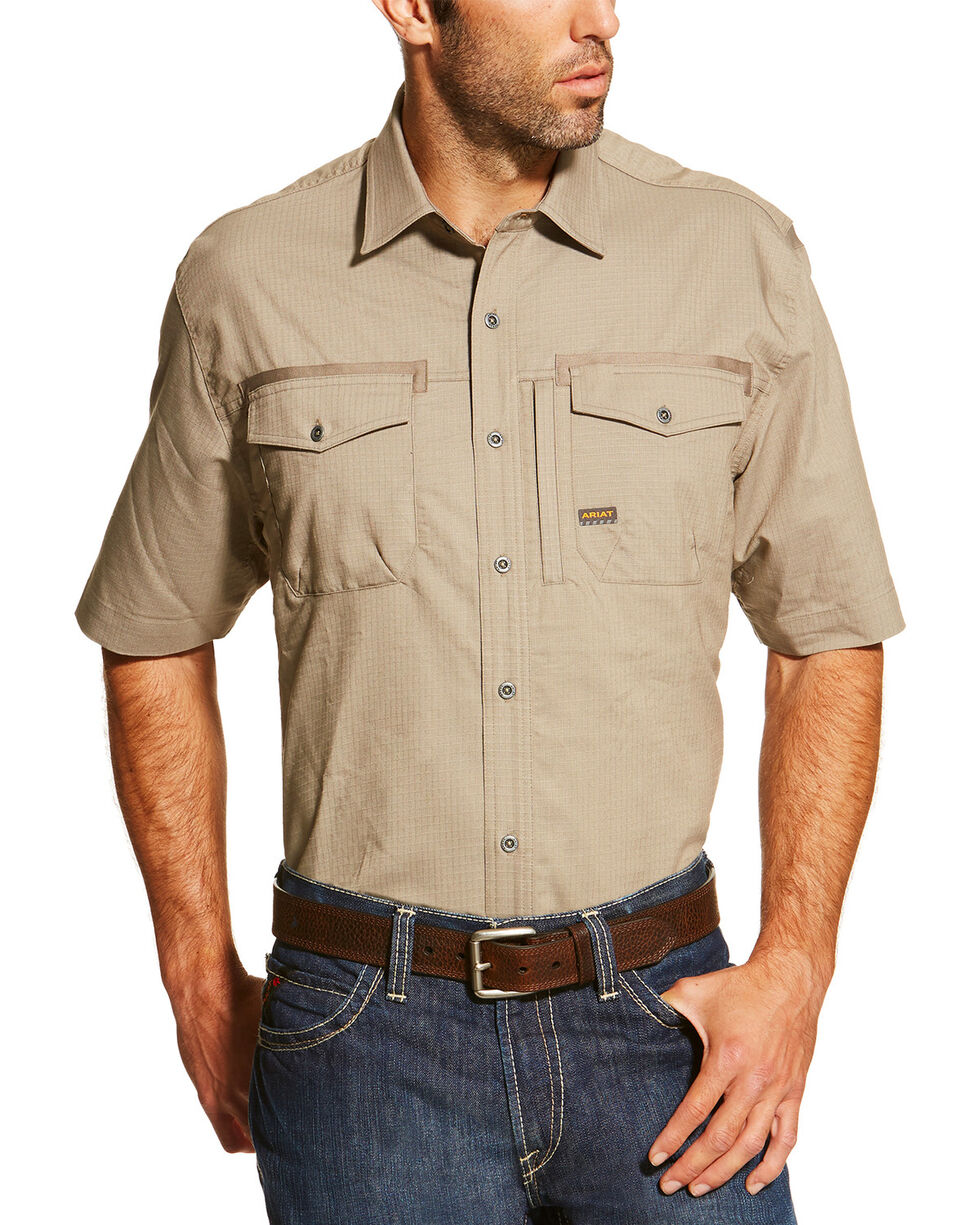 Ariat Men's Khaki Rebar Short Sleeve Work Shirt , Beige/khaki, hi-res