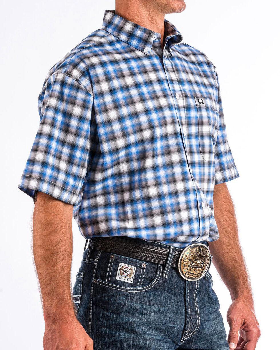 Cinch Men's ArenaFlex Plaid Short Sleeve Button Down Shirt , Purple, hi-res