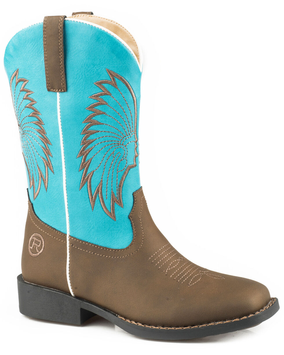 Roper Boys' Big Chief Cowboy Boots - Square Toe, Brown, hi-res