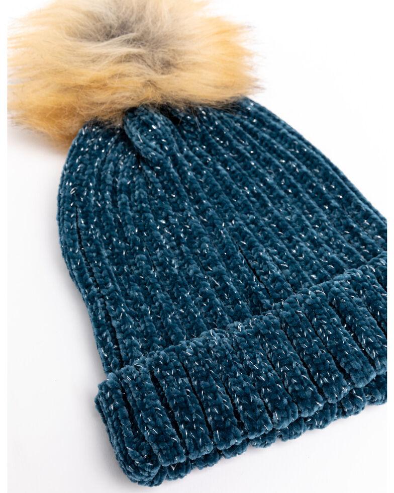 Shyanne Women's Teal Chenille Faux Fur Pom Beanie , Teal, hi-res