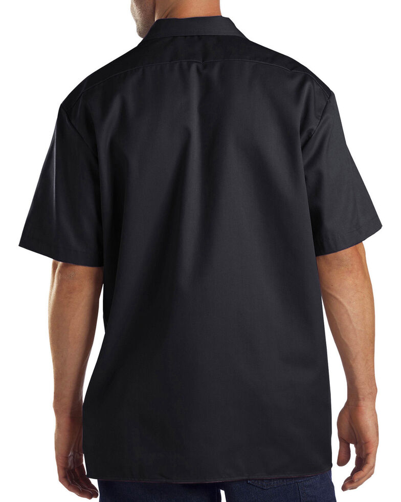 Dickies Men's Black Solid Flex Twill Short Sleeve Work Shirt , Black, hi-res