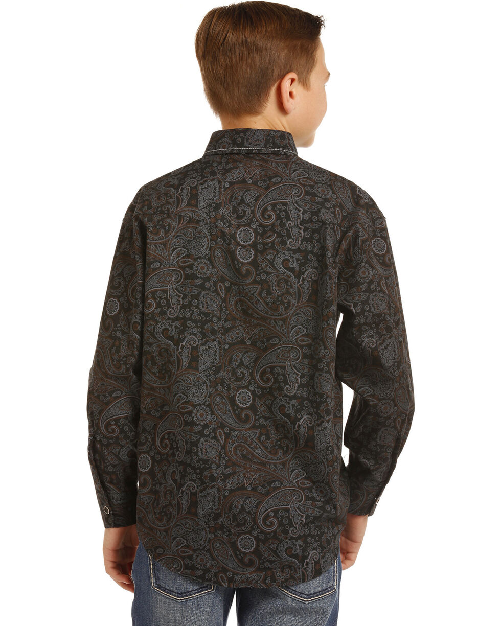 Rock & Roll Cowboy Boys' Paisley Print Triple Stitch Long Sleeve Snap Shirt, Black, hi-res