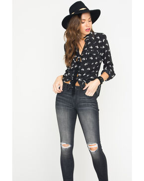 Ryan Michael Women's Silk Bucking Horse Print Shirt, Black, hi-res