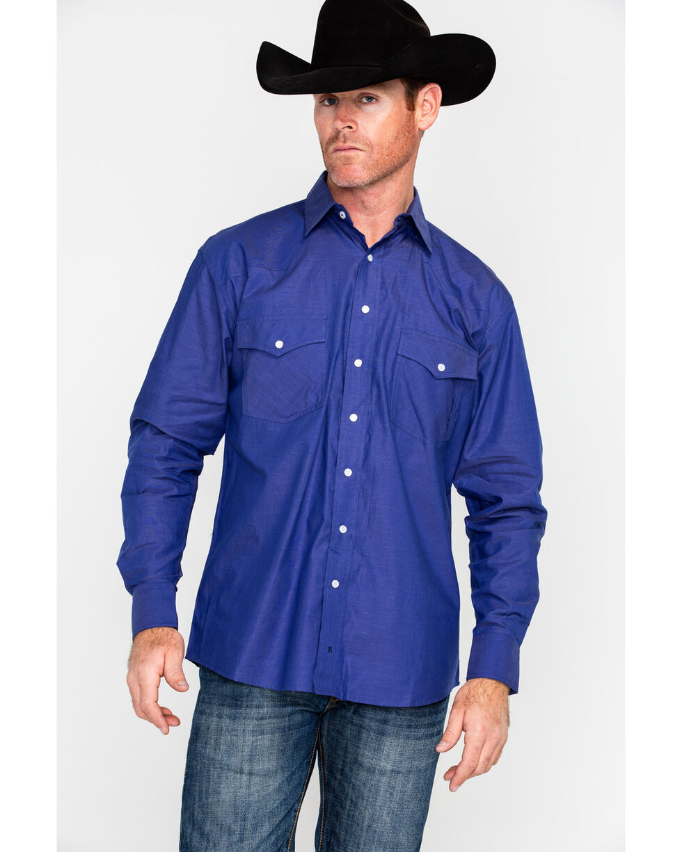 Resistol Men's Caldwell Solid Long Sleeve Western Shirt , Dark Blue, hi-res