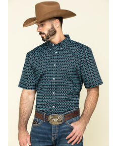 Cody James Core Men's High Roller Geo Print Short Sleeve Western Shirt , Black, hi-res