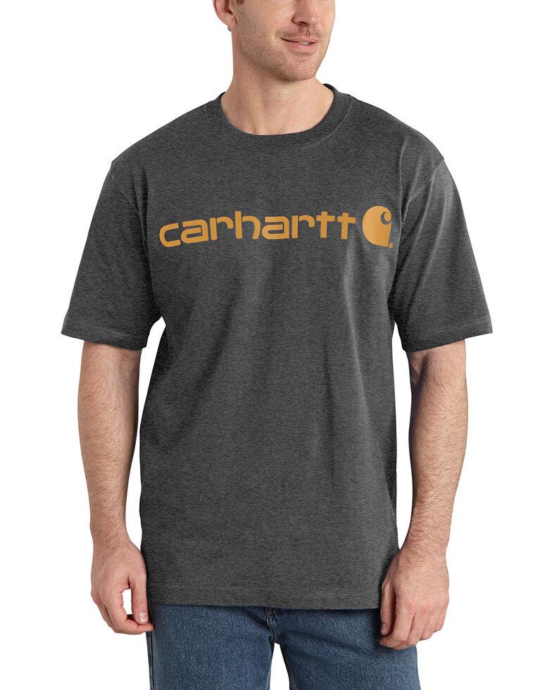 Carhartt Men's Signature Logo Graphic Short Sleeve Work T-Shirt , Charcoal, hi-res