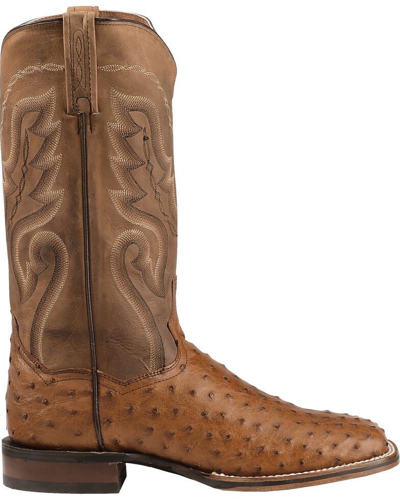 Dan Post Men's Cowboy Certified Full Quill Ostrich, Saddle Brown, hi-res
