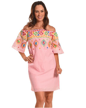 CES FEMME Women's Pink Embroidered Off Shoulder Dress, Pink, hi-res