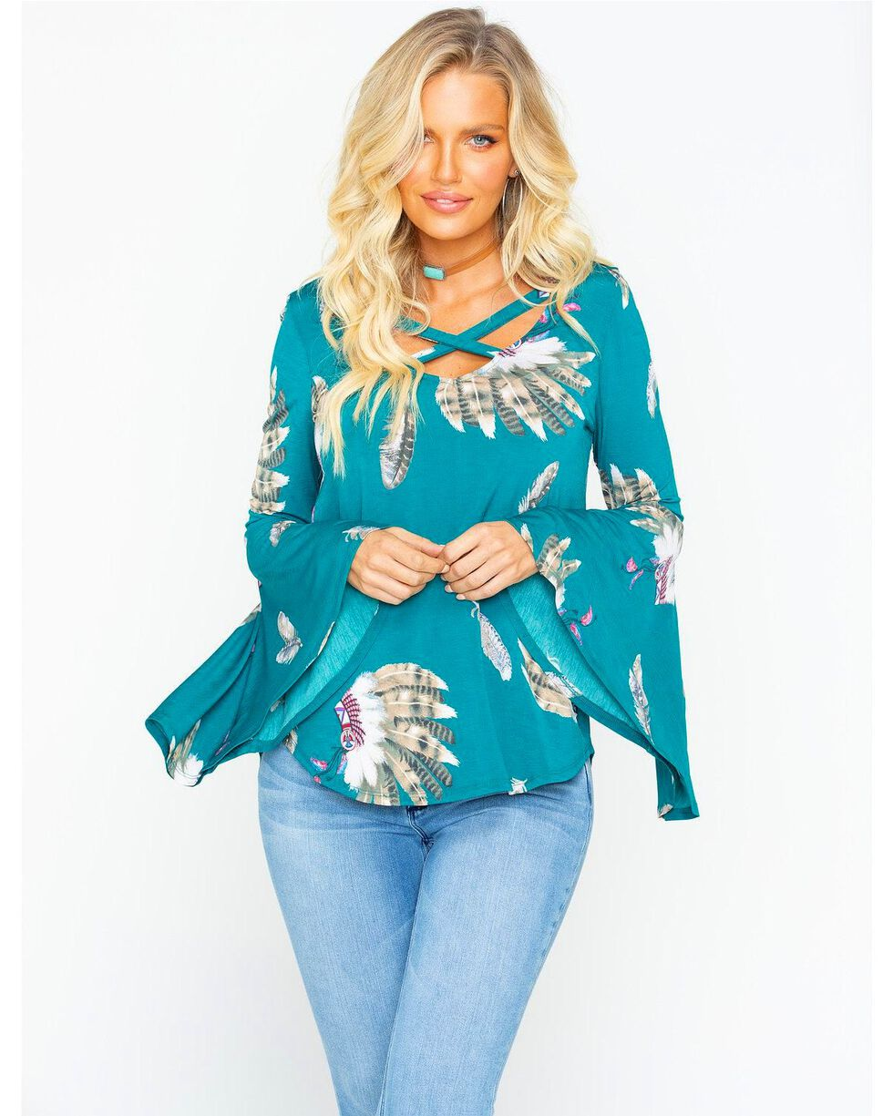 Moa Moa Women's Feathers Cross Bell Sleeve Top, , hi-res
