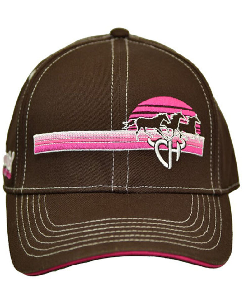 Cowgirl Hardware Women's Sunset Horse Logo Embroidered Ball Cap, Brown, hi-res
