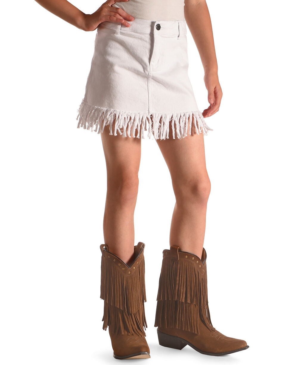 Idol Mind Girls' White Fringed Hem Denim Skirt , White, hi-res