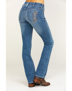 Ariat Women's R.E.A.L. Crossroads Stitch Boot Jeans , Blue, hi-res