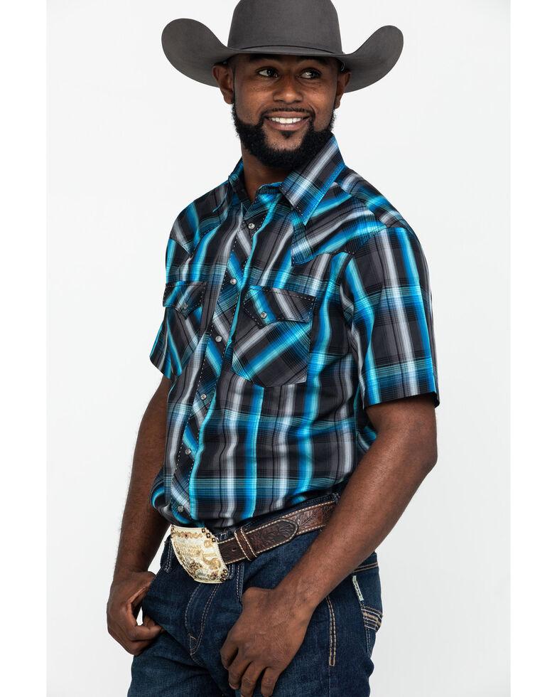 Wrangler Men's Black Plaid Fashion Snap Short Sleeve Western Shirt , Black, hi-res