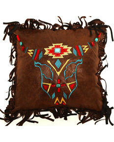 Carstens Embroidered Steerhead Pillow, Brown, hi-res