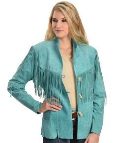 Scully Women's Fringe Jacket, Turquoise, hi-res