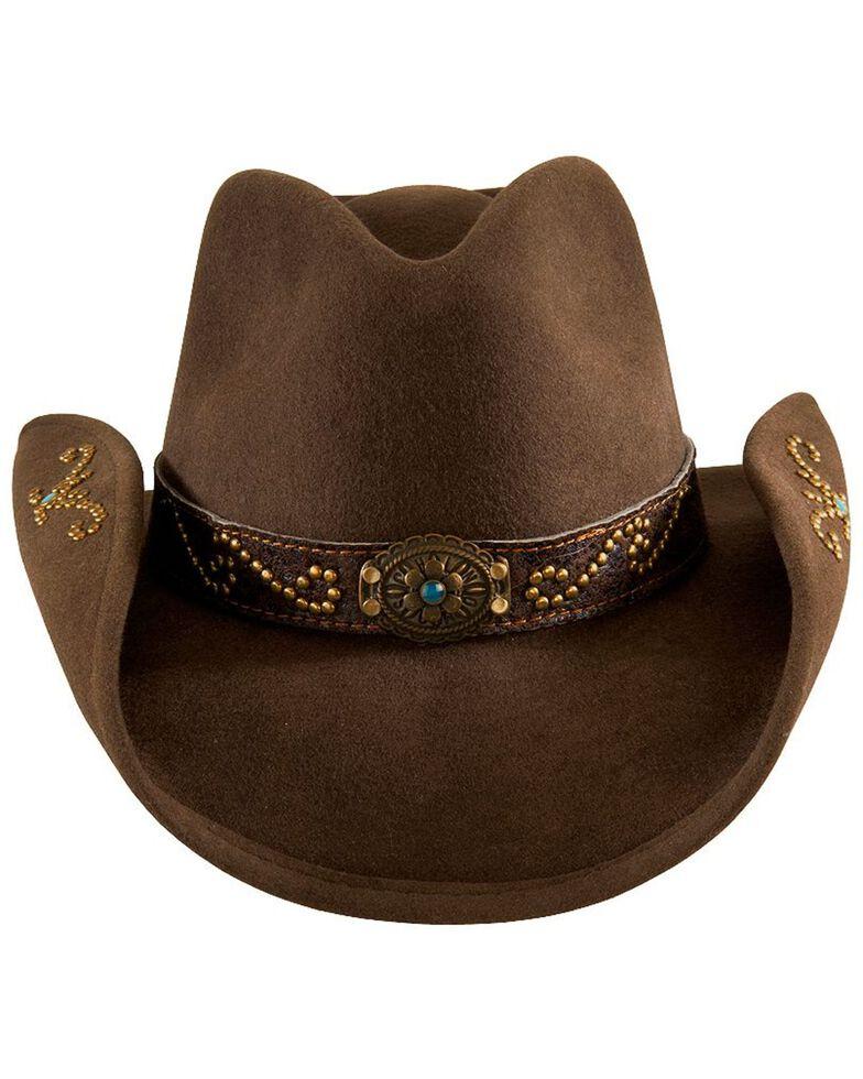 Bullhide Kids' Studded Wool Hat, Brown, hi-res