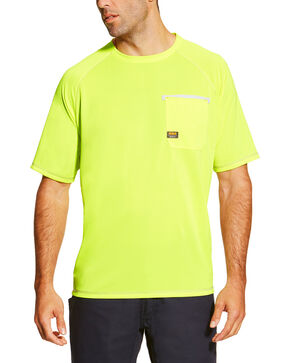 Ariat Men's Rebar Sun Stopper Crew Short Sleeve Shirt, Bright Green, hi-res
