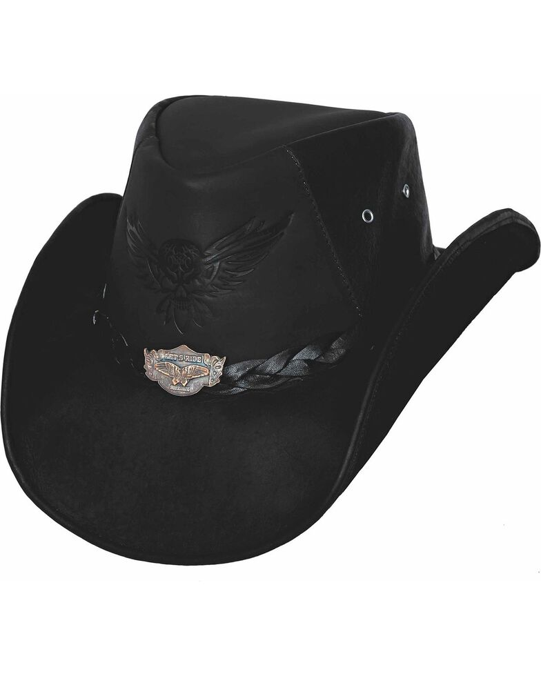 Bullhide King Of The Road Leather Hat, Black, hi-res