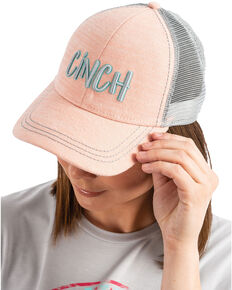 Cinch Women's 3D Logo Trucker Cap , Coral, hi-res