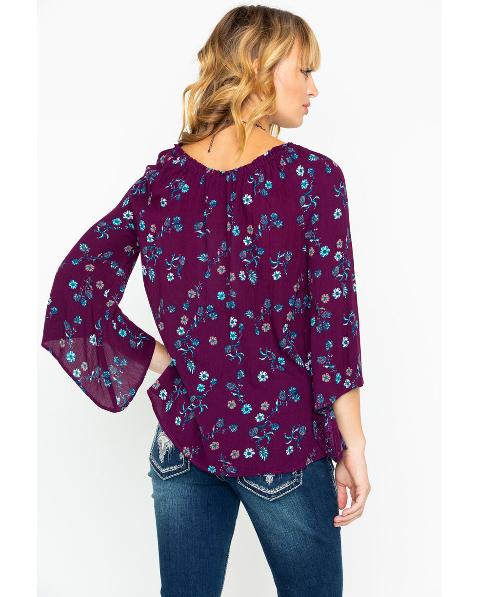 Shyanne Women's Medallion Ditsy Floral Peasant Long Sleeve Top , Burgundy, hi-res