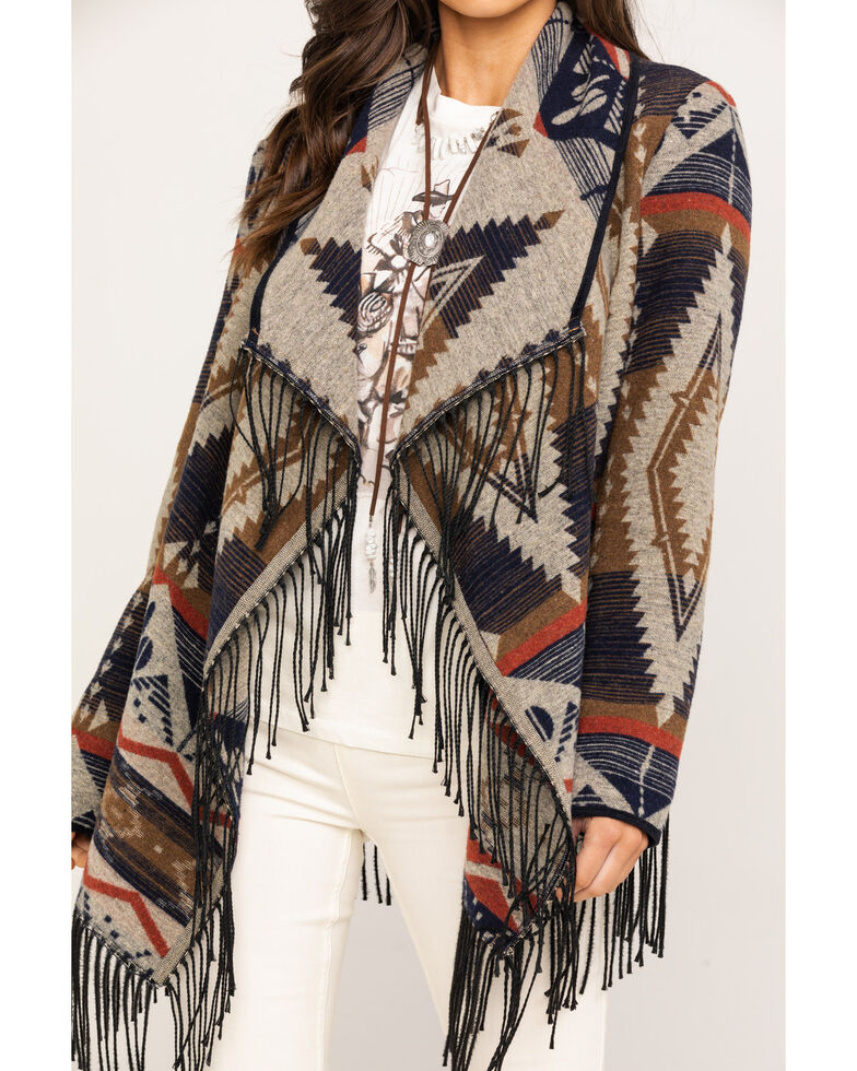 Powder River Outfitters Women's Aztec Jacquard Fringe Jacket, Multi, hi-res