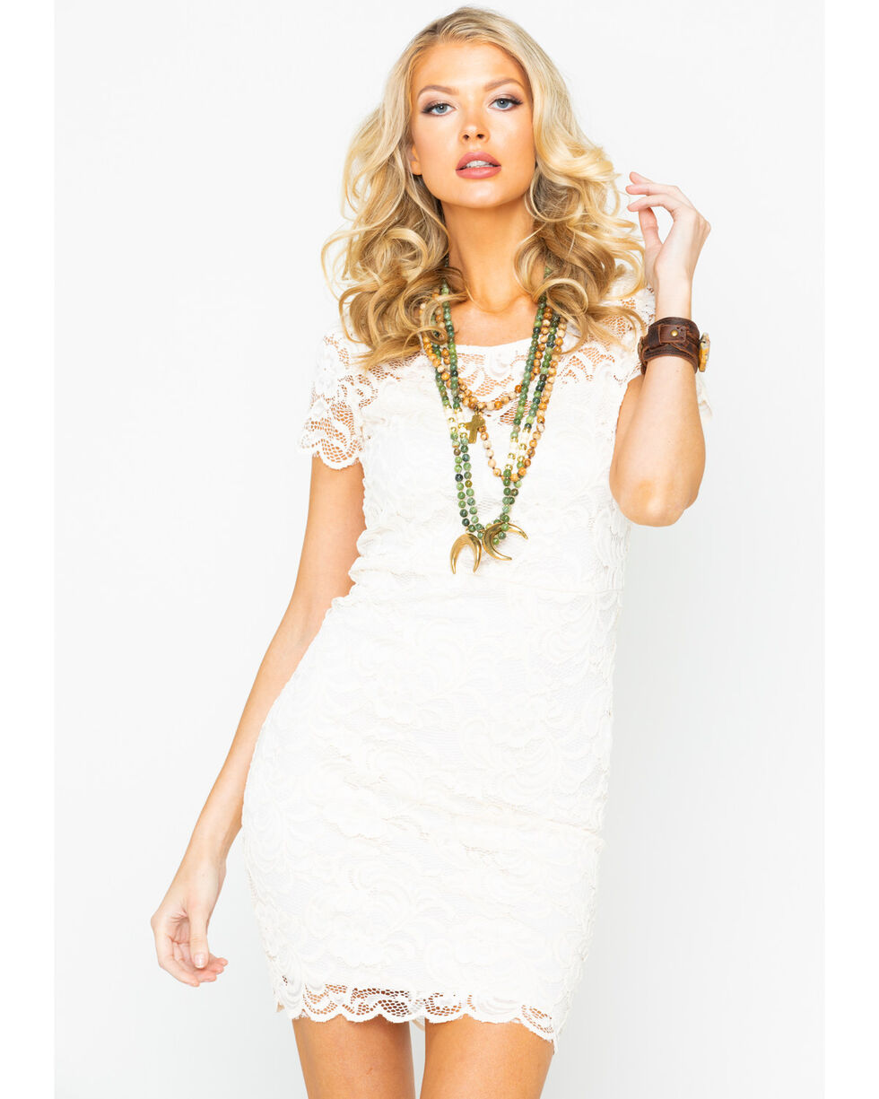 Panhandle Women's All Over Lace Dress, White, hi-res