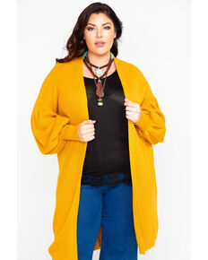 Flying Tomato Women's Open Front Mustard Sweater - Plus, Dark Yellow, hi-res