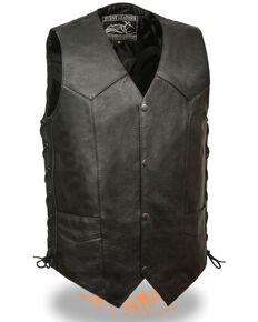 Milwaukee Leather Men's Side Lace Biker Vest - Tall , Black, hi-res