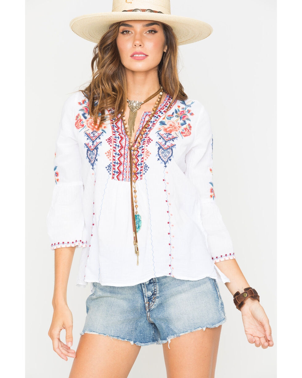 Johnny Was Women's Marion Flare Sleeve Blouse , White, hi-res