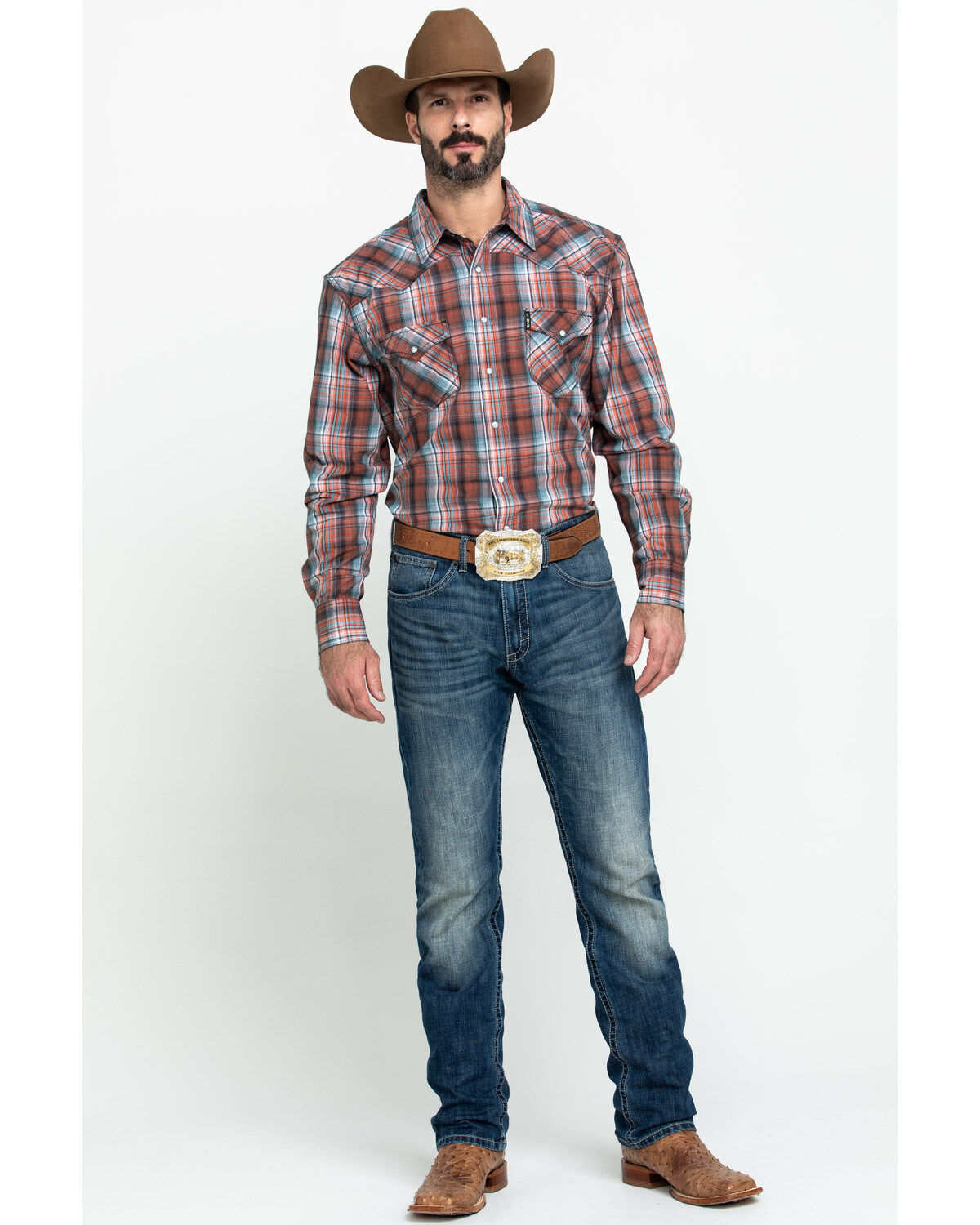 Cinch Mens Modern Fit Long Sleeve Plaid Shirt with Snap Front