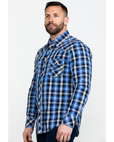 Rock & Roll Cowboy Men's Crinkle Herringbone Plaid Long Sleeve Western Shirt , Blue, hi-res