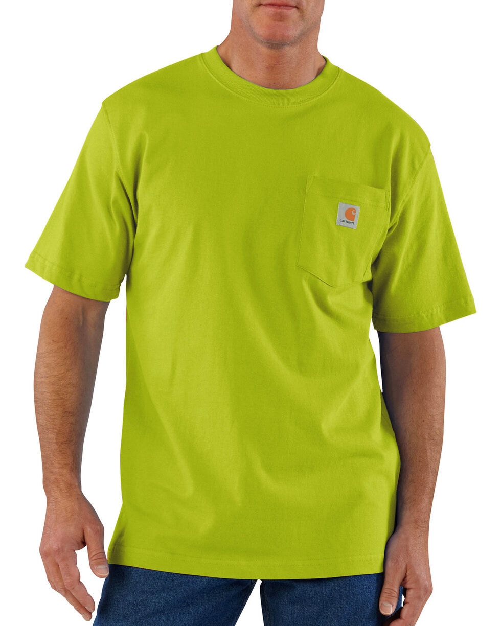 Carhartt Men's Jersey Knit Pocket Work Shirts, Green, hi-res