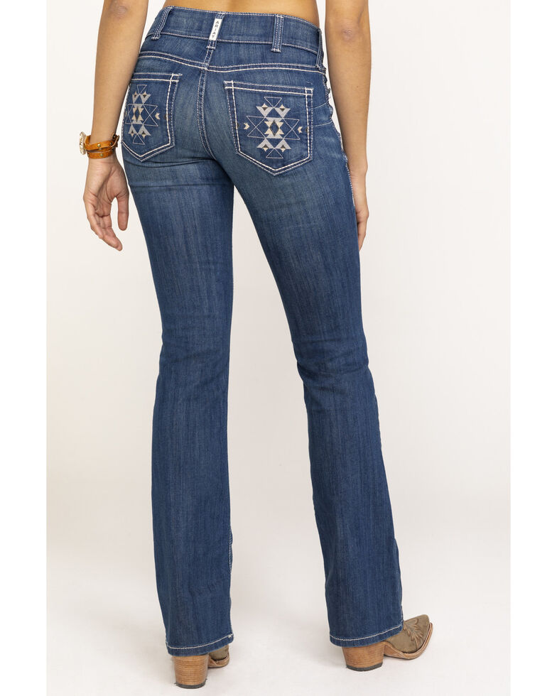 Ariat Women's August Aztec R.E.A.L. Boot Cut Jeans , Blue, hi-res