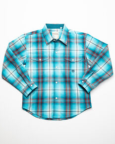 Roper Boys' Amarillo Plaid Snap Long Sleeve Western Shirt , Blue, hi-res